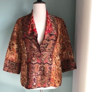 Citron 3/4 sleeve brocade jacket XL